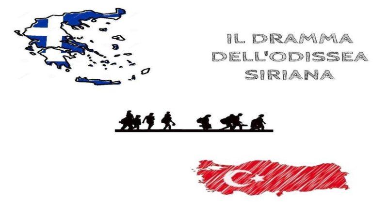 marcia stilizzata di uomini siriani con bandiere
